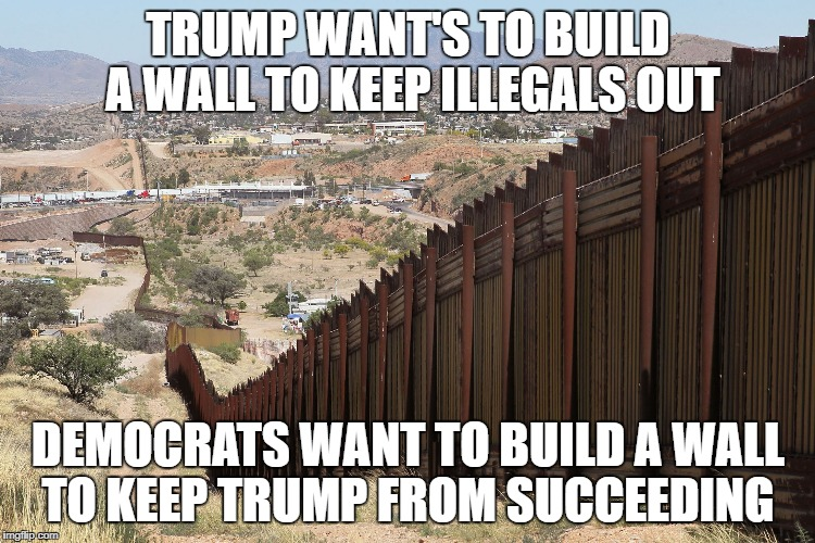 TRUMP WANT'S TO BUILD A WALL TO KEEP ILLEGALS OUT DEMOCRATS WANT TO BUILD A WALL TO KEEP TRUMP FROM SUCCEEDING | image tagged in border wall 02 | made w/ Imgflip meme maker