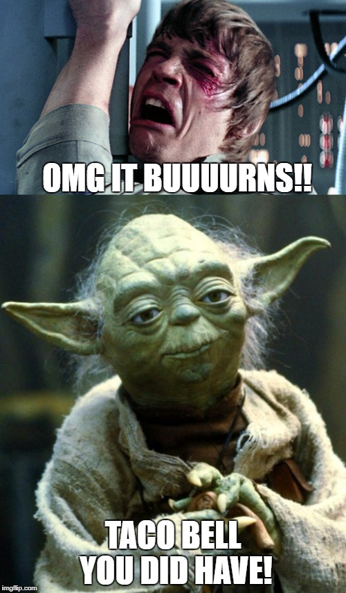 OMG IT BUUUURNS!! TACO BELL YOU DID HAVE! | image tagged in burn,funny memes,poop,star wars yoda,luke skywalker,taco bell | made w/ Imgflip meme maker