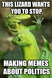 lizard | THIS LIZARD WANTS YOU TO STOP MAKING MEMES ABOUT POLITICS | image tagged in lizard | made w/ Imgflip meme maker