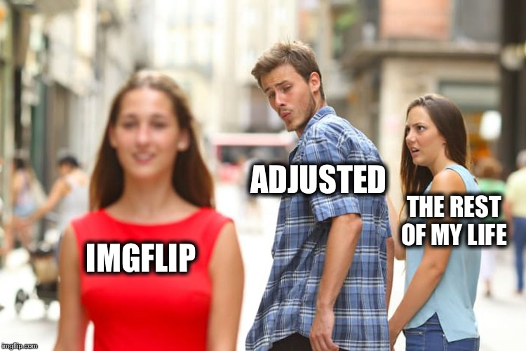 Distracted Boyfriend Meme | IMGFLIP ADJUSTED THE REST OF MY LIFE | image tagged in memes,distracted boyfriend | made w/ Imgflip meme maker