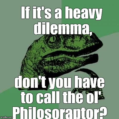 Philosoraptor Meme | If it's a heavy dilemma, don't you have to call the ol' Philosoraptor? | image tagged in memes,philosoraptor | made w/ Imgflip meme maker