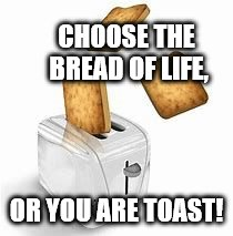 CHOOSE THE BREAD OF LIFE, OR YOU ARE TOAST! | image tagged in toast | made w/ Imgflip meme maker