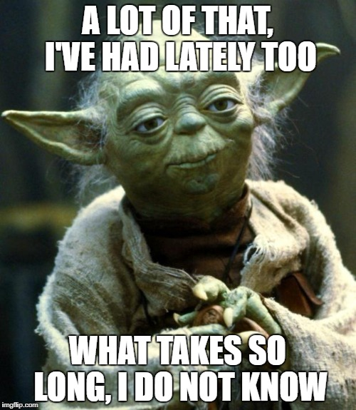 Star Wars Yoda Meme | A LOT OF THAT, I'VE HAD LATELY TOO WHAT TAKES SO LONG, I DO NOT KNOW | image tagged in memes,star wars yoda | made w/ Imgflip meme maker