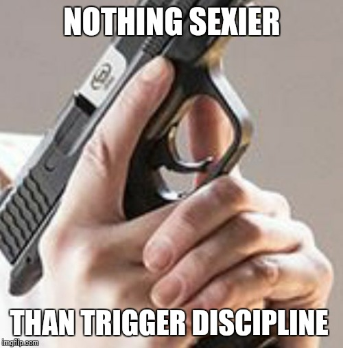 Sexy Discipline  | NOTHING SEXIER THAN TRIGGER DISCIPLINE | image tagged in trigger discipline,memes,done,right,gun control,2nd amendment | made w/ Imgflip meme maker