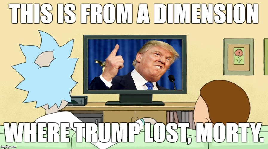 Rick and Morty: Inter-dimensional Cable | THIS IS FROM A DIMENSION WHERE TRUMP LOST, MORTY. | image tagged in rick and morty inter-dimensional cable,rick and morty,interdimensional cable,donald trump | made w/ Imgflip meme maker