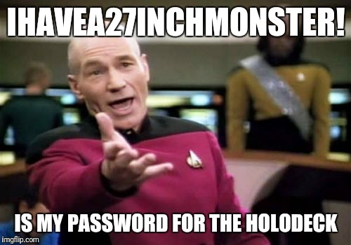 Picard Wtf Meme | IHAVEA27INCHMONSTER! IS MY PASSWORD FOR THE HOLODECK | image tagged in memes,picard wtf | made w/ Imgflip meme maker