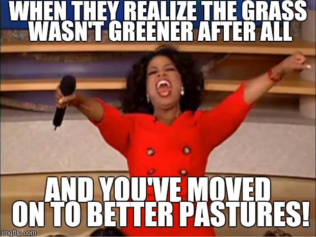 Oprah You Get A Meme | WHEN THEY REALIZE THE GRASS WASN'T GREENER AFTER ALL AND YOU'VE MOVED ON TO BETTER PASTURES! | image tagged in memes,oprah you get a | made w/ Imgflip meme maker