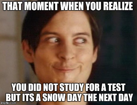 Spiderman Peter Parker Meme | THAT MOMENT WHEN YOU REALIZE YOU DID NOT STUDY FOR A TEST BUT ITS A SNOW DAY THE NEXT DAY | image tagged in memes,spiderman peter parker | made w/ Imgflip meme maker