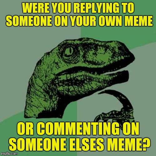 Philosoraptor Meme | WERE YOU REPLYING TO SOMEONE ON YOUR OWN MEME OR COMMENTING ON SOMEONE ELSES MEME? | image tagged in memes,philosoraptor | made w/ Imgflip meme maker