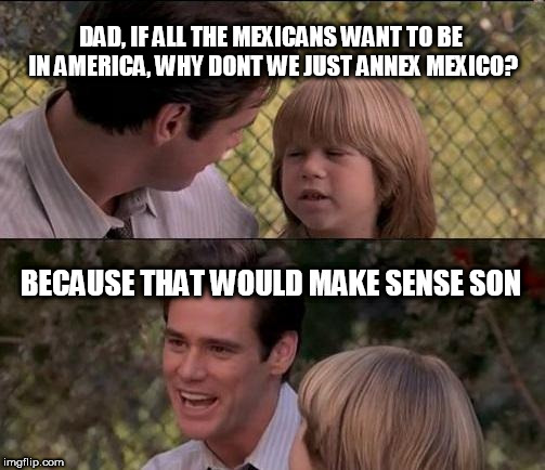 Thats Just Something X Say Meme | DAD, IF ALL THE MEXICANS WANT TO BE IN AMERICA, WHY DONT WE JUST ANNEX MEXICO? BECAUSE THAT WOULD MAKE SENSE SON | image tagged in memes,thats just something x say | made w/ Imgflip meme maker