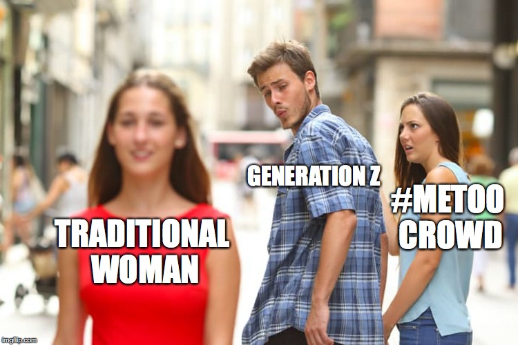 Distracted Boyfriend Meme | TRADITIONAL WOMAN GENERATION Z #METOO CROWD | image tagged in memes,distracted boyfriend | made w/ Imgflip meme maker