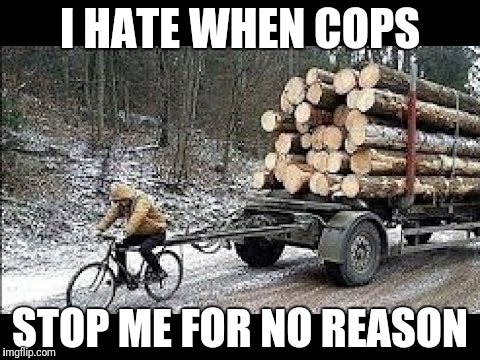 Lol | I HATE WHEN COPS STOP ME FOR NO REASON | image tagged in cops,winter,bicycle,wood,what the fuck,what am i doing with my life | made w/ Imgflip meme maker