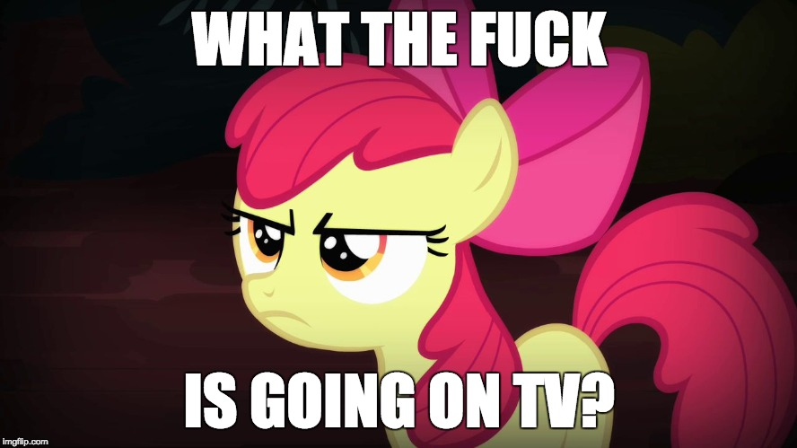 The Olympics are now wrapping up, so now it's back to mindless television! | WHAT THE F**K IS GOING ON TV? | image tagged in angry applebloom,memes,television,olympics | made w/ Imgflip meme maker