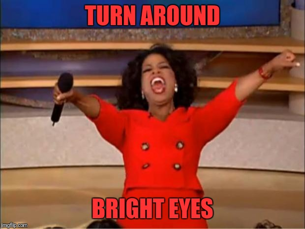 Oprah You Get A Meme | TURN AROUND BRIGHT EYES | image tagged in memes,oprah you get a | made w/ Imgflip meme maker