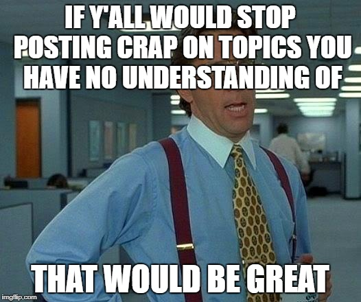 If I believe it, it must be true! | IF Y'ALL WOULD STOP POSTING CRAP ON TOPICS YOU HAVE NO UNDERSTANDING OF THAT WOULD BE GREAT | image tagged in memes,that would be great | made w/ Imgflip meme maker