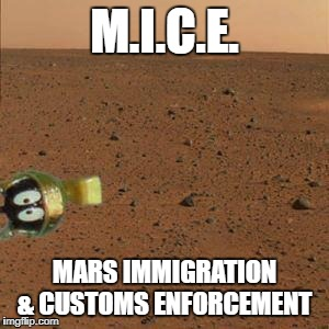M.I.C.E. MARS IMMIGRATION & CUSTOMS ENFORCEMENT | image tagged in funny,immigration,mars | made w/ Imgflip meme maker
