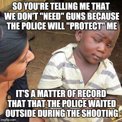 "The police is just a clean up crew, you have the right to be able to defend yourself | SO YOU'RE TELLING ME THAT WE DON'T ""NEED"" GUNS BECAUSE THE POLICE WILL ""PROTECT"" ME IT'S A MATTER OF RECORD THAT THAT THE POLICE WAITED OUTS 