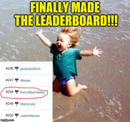 Only 247 spots to go till I reach #1! | FINALLY MADE THE LEADERBOARD!!! | image tagged in celebration,leaderboard | made w/ Imgflip meme maker