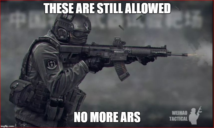assault rifle | THESE ARE STILL ALLOWED NO MORE ARS | image tagged in assault rifle | made w/ Imgflip meme maker