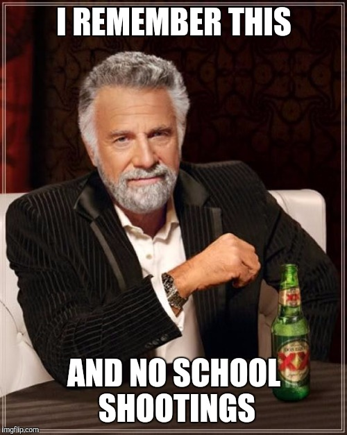 The Most Interesting Man In The World Meme | I REMEMBER THIS AND NO SCHOOL SHOOTINGS | image tagged in memes,the most interesting man in the world | made w/ Imgflip meme maker