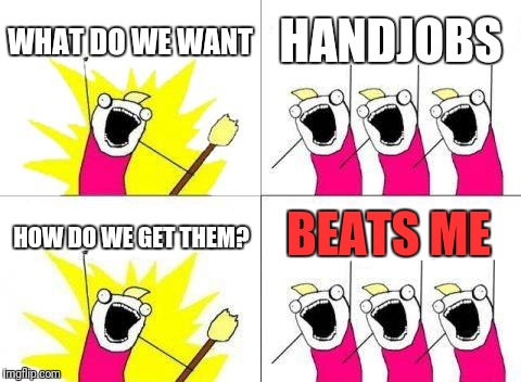 What Do We Want Meme | WHAT DO WE WANT HANDJOBS HOW DO WE GET THEM? BEATS ME | image tagged in memes,what do we want | made w/ Imgflip meme maker