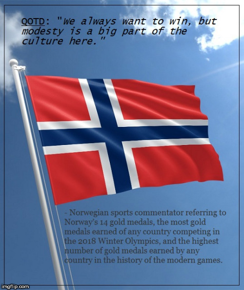 Norwegian Olympic Modesty | image tagged in olympics | made w/ Imgflip meme maker