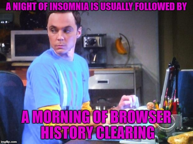 Can't sleep, must check imgflip | A NIGHT OF INSOMNIA IS USUALLY FOLLOWED BY A MORNING OF BROWSER HISTORY CLEARING | image tagged in sheldon computer | made w/ Imgflip meme maker