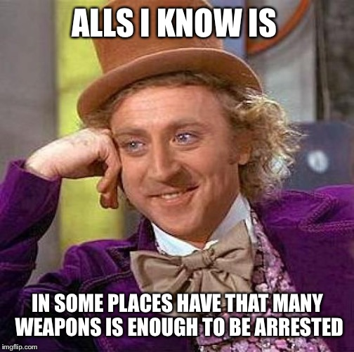 Creepy Condescending Wonka Meme | ALLS I KNOW IS IN SOME PLACES HAVE THAT MANY WEAPONS IS ENOUGH TO BE ARRESTED | image tagged in memes,creepy condescending wonka | made w/ Imgflip meme maker