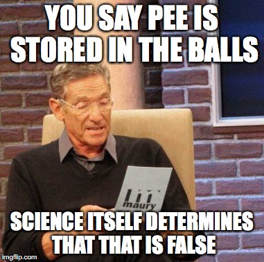 Logic wins again! | YOU SAY PEE IS STORED IN THE BALLS SCIENCE ITSELF DETERMINES THAT THAT IS FALSE | image tagged in memes,maury lie detector,funny,pee,pee is stored in the balls | made w/ Imgflip meme maker