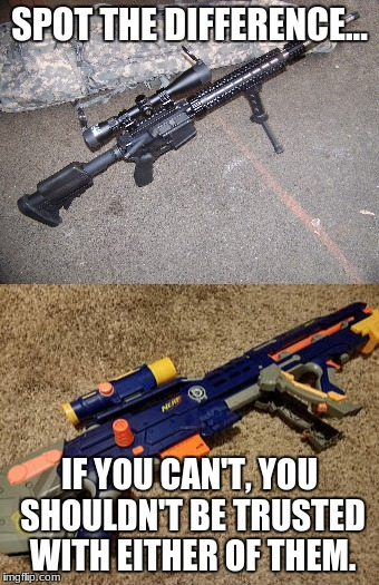truth | SPOT THE DIFFERENCE... IF YOU CAN'T, YOU SHOULDN'T BE TRUSTED WITH EITHER OF THEM. | image tagged in gun control second amendment,gun control,second amendment,ar 15 | made w/ Imgflip meme maker