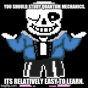 sans-sational puns pt-7 | YOU SHOULD STUDY QUANTUM MECHANICS. ITS RELATIVELY EASY TO LEARN. | image tagged in bad puns with sans | made w/ Imgflip meme maker