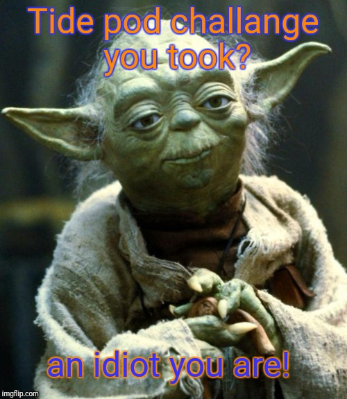 Star Wars Yoda Meme | Tide pod challange you took? an idiot you are! | image tagged in memes,star wars yoda | made w/ Imgflip meme maker