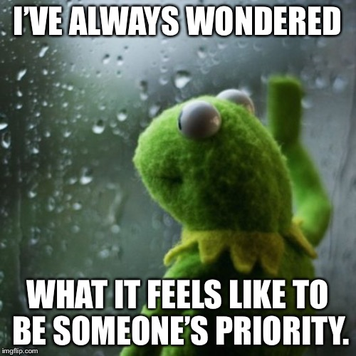 sometimes I wonder  | I'VE ALWAYS WONDERED WHAT IT FEELS LIKE TO BE SOMEONE'S PRIORITY. | image tagged in sometimes i wonder | made w/ Imgflip meme maker