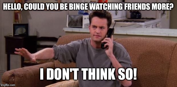 Chandler bing |  HELLO, COULD YOU BE BINGE WATCHING FRIENDS MORE? I DON'T THINK SO! | image tagged in chandler bing | made w/ Imgflip meme maker