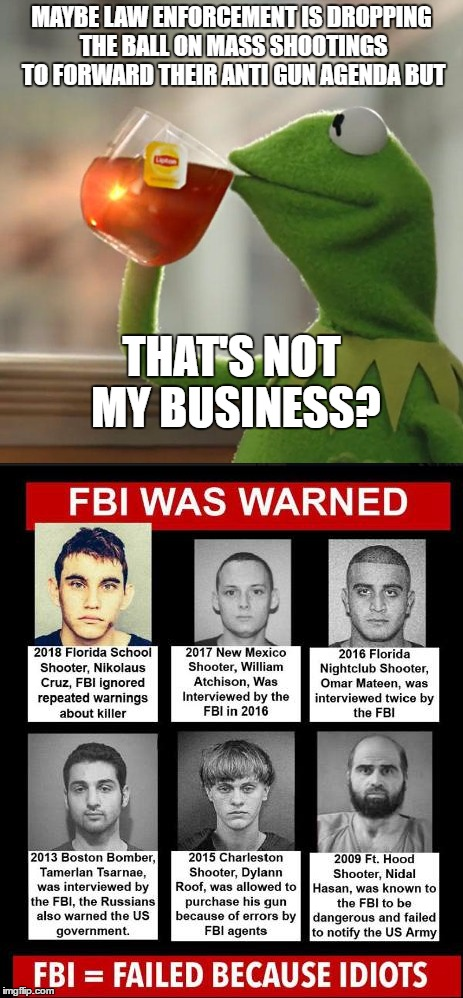 I haven't been political in a long time but this keeps eating at me. Just throwing this out there.  | MAYBE LAW ENFORCEMENT IS DROPPING THE BALL ON MASS SHOOTINGS TO FORWARD THEIR ANTI GUN AGENDA BUT THAT'S NOT MY BUSINESS? | image tagged in random,mass shooting,gun control,fbi,kermit the frog | made w/ Imgflip meme maker