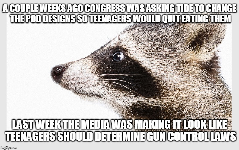 Boycott the fake news outlets! | A COUPLE WEEKS AGO CONGRESS WAS ASKING TIDE TO CHANGE THE POD DESIGNS SO TEENAGERS WOULD QUIT EATING THEM LAST WEEK THE MEDIA WAS MAKING IT  | image tagged in msm,mainstream media,gun control,media manipulation | made w/ Imgflip meme maker