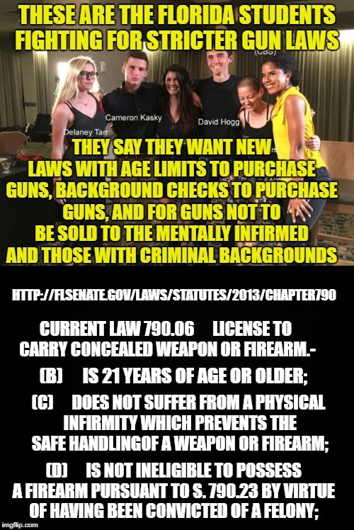 THESE ARE THE FLORIDA STUDENTS FIGHTING FOR STRICTER GUN LAWS THEY SAY THEY WANT NEW LAWS WITH AGE LIMITS TO PURCHASE GUNS, BACKGROUND CHECK | image tagged in florida shooting,gun control,nra,gun laws | made w/ Imgflip meme maker