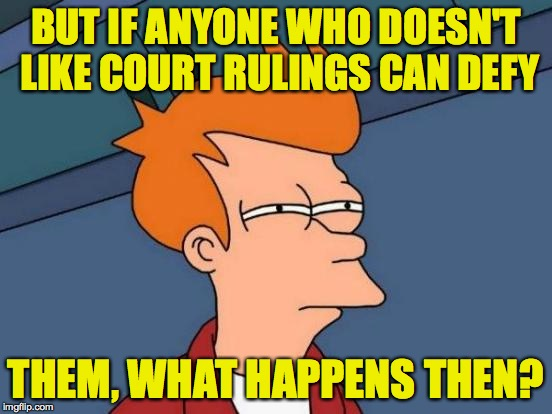 Futurama Fry Meme | BUT IF ANYONE WHO DOESN'T LIKE COURT RULINGS CAN DEFY THEM, WHAT HAPPENS THEN? | image tagged in memes,futurama fry | made w/ Imgflip meme maker