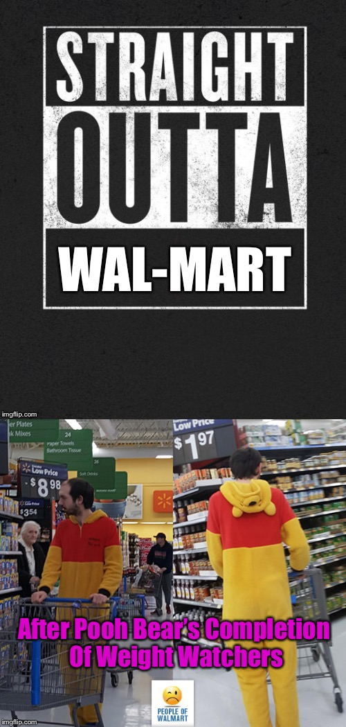 Christopher Robin's Friend shops for kale and bean sprouts | After Pooh Bear's Completion Of Weight Watchers | image tagged in memes,straight outta wal-mart,winnie the pooh,diet,weight watchers | made w/ Imgflip meme maker
