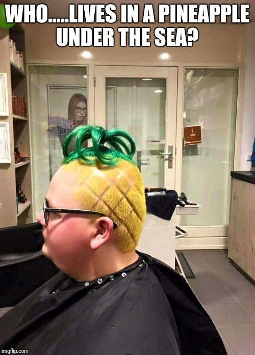 SpongeBob Hairpants | WHO.....LIVES IN A PINEAPPLE UNDER THE SEA? | image tagged in spongebob,hairstyle,pineapple | made w/ Imgflip meme maker