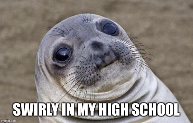 Awkward Moment Sealion Meme | SWIRLY IN MY HIGH SCHOOL | image tagged in memes,awkward moment sealion | made w/ Imgflip meme maker