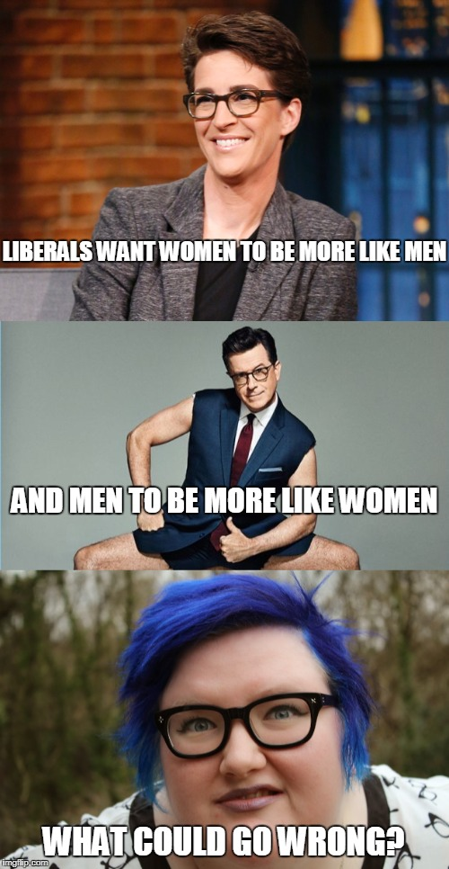 In An Upside Down World | LIBERALS WANT WOMEN TO BE MORE LIKE MEN WHAT COULD GO WRONG? AND MEN TO BE MORE LIKE WOMEN | image tagged in funny,liberalism,men,women | made w/ Imgflip meme maker