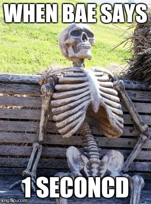 Waiting Skeleton Meme | WHEN BAE SAYS 1 SECONCD | image tagged in memes,waiting skeleton | made w/ Imgflip meme maker