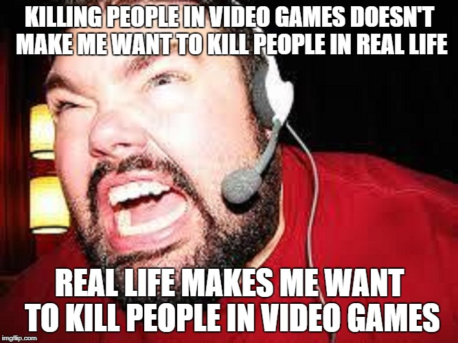 Parents and Scientists these days... |  KILLING PEOPLE IN VIDEO GAMES DOESN'T MAKE ME WANT TO KILL PEOPLE IN REAL LIFE; REAL LIFE MAKES ME WANT TO KILL PEOPLE IN VIDEO GAMES | image tagged in meme,video games,angry gamer,yelling,temper | made w/ Imgflip meme maker