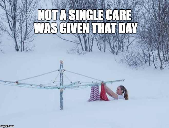 NOT A SINGLE CARE WAS GIVEN THAT DAY | image tagged in snow,winter,memes | made w/ Imgflip meme maker