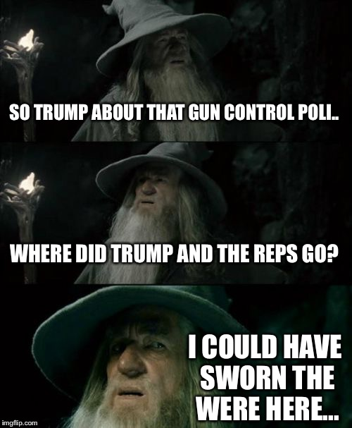 Trumps gun control policy | SO TRUMP ABOUT THAT GUN CONTROL POLI.. WHERE DID TRUMP AND THE REPS GO? I COULD HAVE SWORN THE WERE HERE... | image tagged in memes,gun control,policy,school,school shooting,trump | made w/ Imgflip meme maker