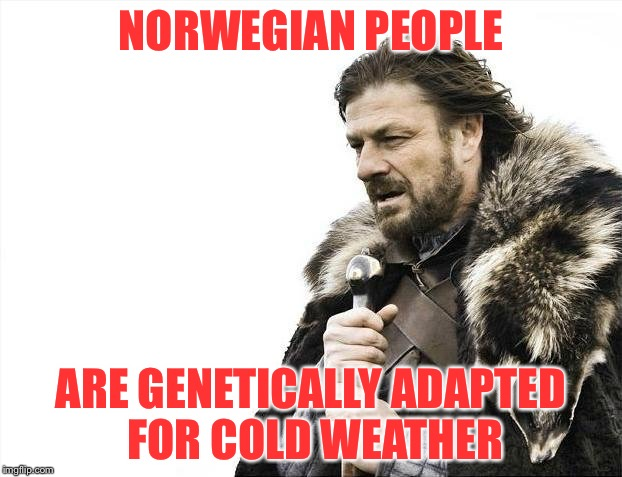 Brace Yourselves X is Coming Meme | NORWEGIAN PEOPLE ARE GENETICALLY ADAPTED FOR COLD WEATHER | image tagged in memes,brace yourselves x is coming | made w/ Imgflip meme maker