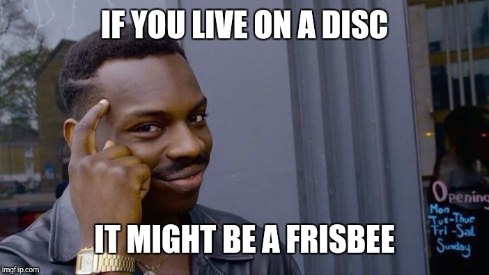 Roll Safe Think About It Meme | IF YOU LIVE ON A DISC IT MIGHT BE A FRISBEE | image tagged in memes,roll safe think about it | made w/ Imgflip meme maker