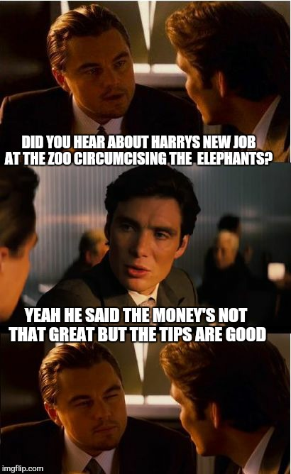 Inception | DID YOU HEAR ABOUT HARRYS NEW JOB AT THE ZOO CIRCUMCISING THE  ELEPHANTS? YEAH HE SAID THE MONEY'S NOT THAT GREAT BUT THE TIPS ARE GOOD | image tagged in memes,inception,zoo,tips,funny memes | made w/ Imgflip meme maker