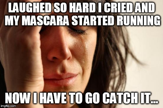 First World Problems Meme | LAUGHED SO HARD I CRIED AND MY MASCARA STARTED RUNNING NOW I HAVE TO GO CATCH IT... | image tagged in memes,first world problems | made w/ Imgflip meme maker